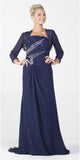 ON SPECIAL LIMITED STOCK - Chiffon Formal Long Dress Navy Blue Strapless Includes Bolero Jacket