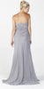 ON SPECIAL LIMITED STOCK - Chiffon Formal Long Dress Silver Strapless Includes Bolero Jacket