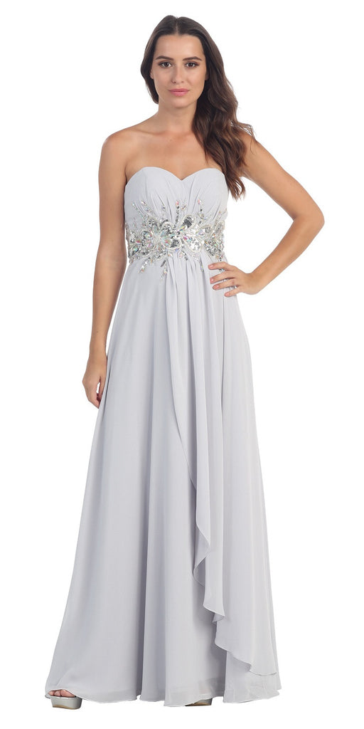 Chiffon Evening Gown Silver A Line Full Length Strapless Empire
