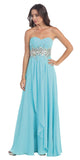 Chiffon Evening Gown Turquoise A Line Full Length Strapless Empire