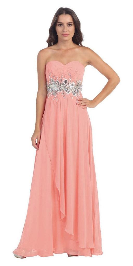Chiffon Evening Gown Blush A Line Full Length Strapless Empire