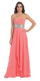 Chiffon Evening Gown Coral A Line Full Length Strapless Empire