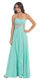 Chiffon Evening Gown Mint A Line Full Length Strapless Empire