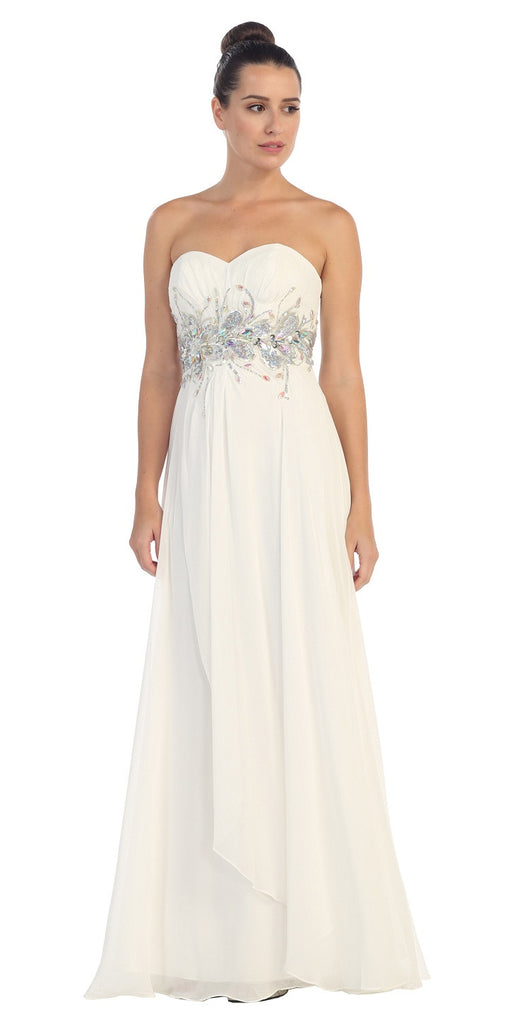 Chiffon Evening Gown Off White A Line Full Length Strapless Empire