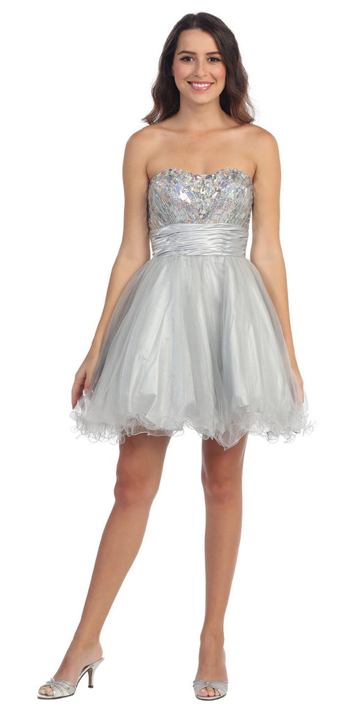 Starbox USA 6035 Studded Bodice Strapless Ruched Short Silver Sweet 15 Dress