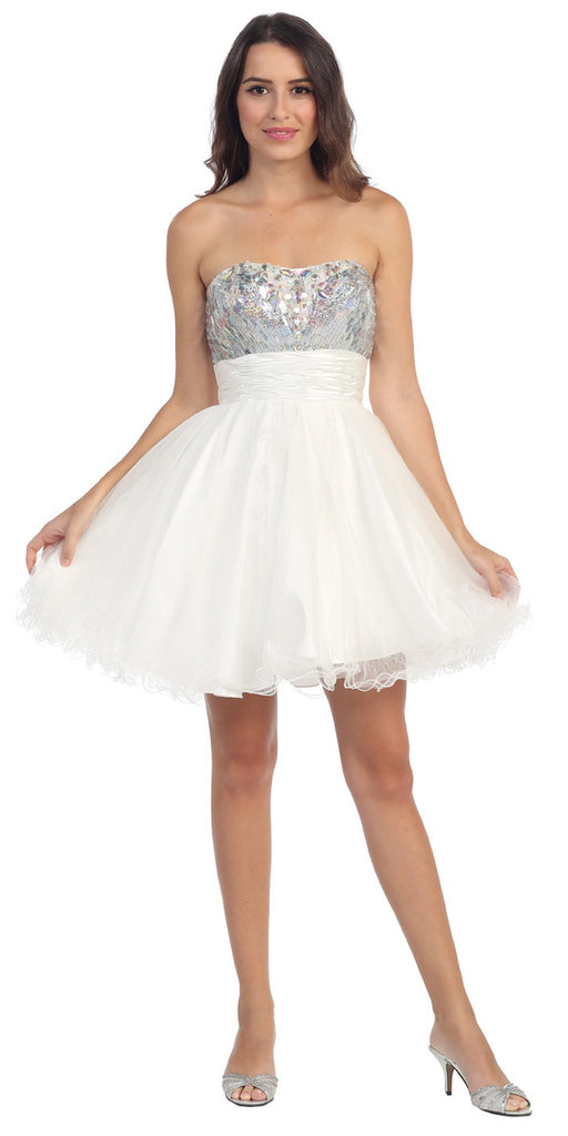 Starbox USA 6035 Studded Bodice Strapless Ruched Short White Sweet 15 Dress