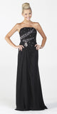 ON SPECIAL LIMITED STOCK - Chiffon Formal Long Dress Black Strapless Includes Bolero Jacket