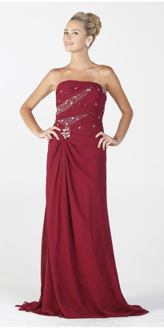 ON SPECIAL LIMITED STOCK - Chiffon Formal Long Dress Burgundy Strapless Includes Bolero Jacket