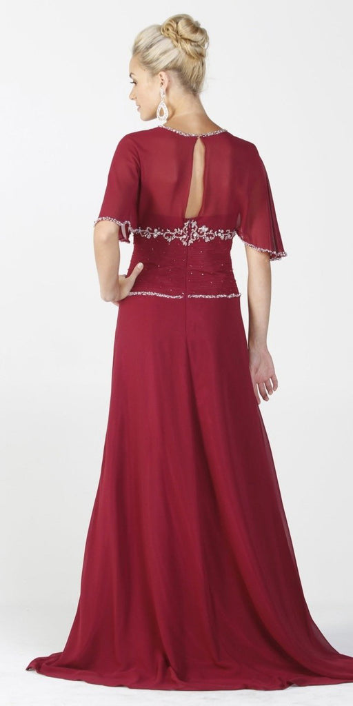 ON SPECIAL LIMITED STOCK - Chiffon Long Formal Burgundy Dress Modest Short Sleeves Beading