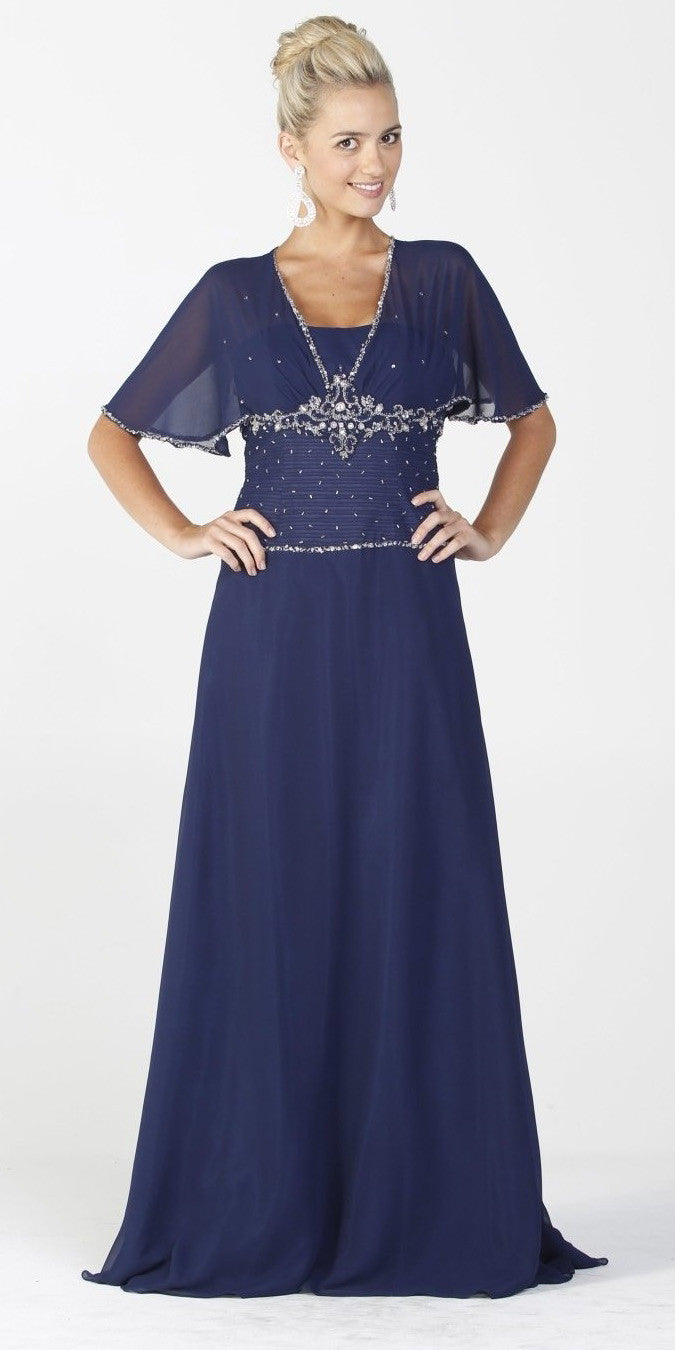 ON SPECIAL LIMITED STOCK - Chiffon Long Formal Navy Blue Dress Modest Short Sleeves Beading