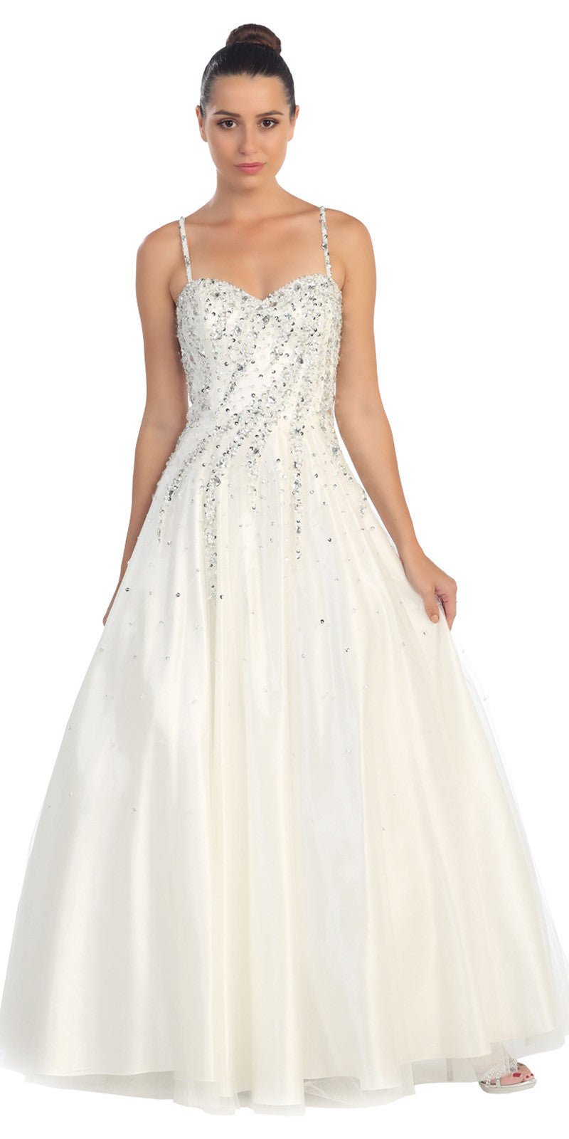Cinderella Gown White A Line Poofy Spaghetti Strap Sequins