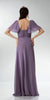 ON SPECIAL LIMITED STOCK - Short Sleeve Purple/Gray Chiffon Dress Sweetheart Neck Beaded Empire