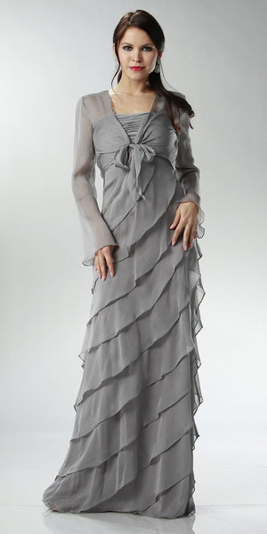 ON SPECIAL LIMITED STOCK - Dark Silver Mother of Bride Dress Layered Skirt
