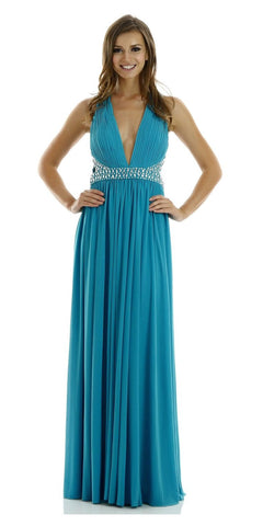 ON SPECIAL LIMITED STOCK - Deep V Neck Formal Evening Gown in Aqua Marine Span Mesh Long