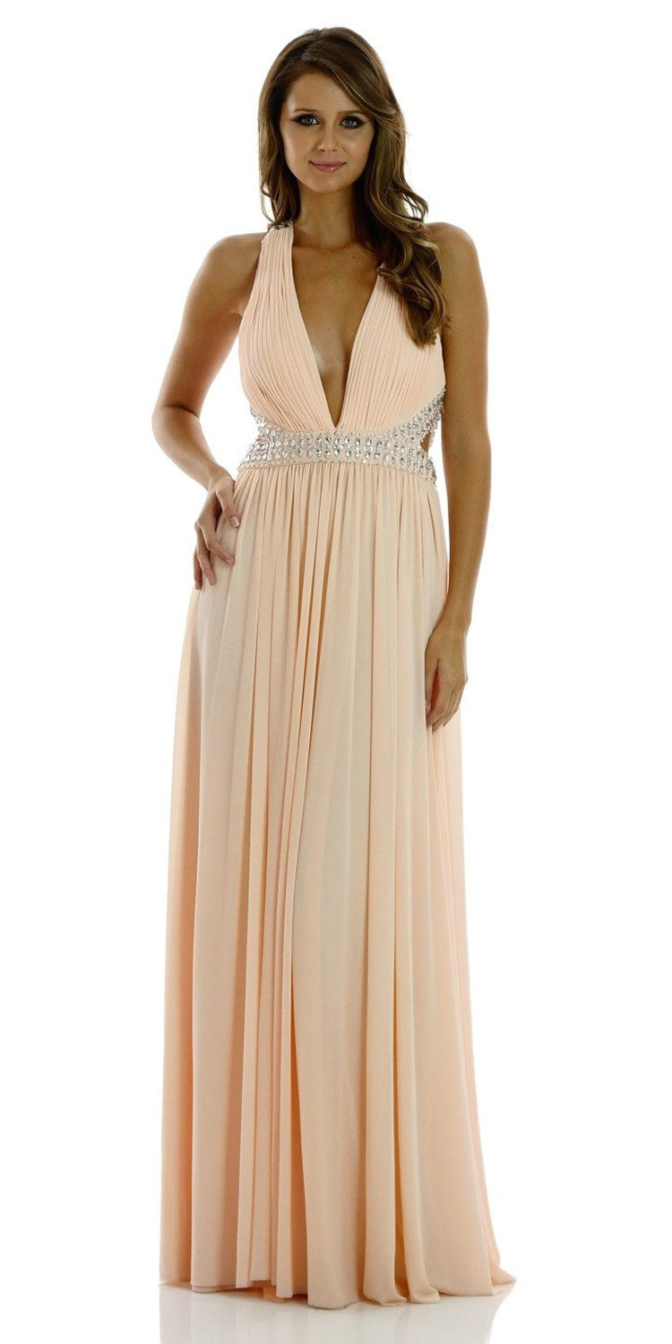 ON SPECIAL LIMITED STOCK - Deep V Neck Formal Evening Gown in Nude Pink Span Mesh Long