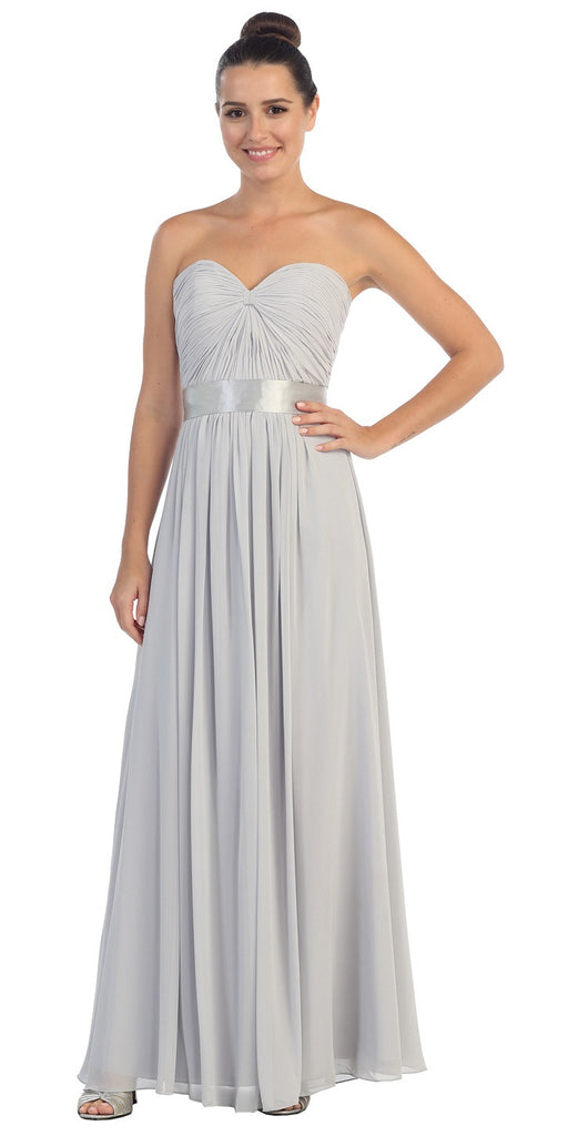 Destination Beach Bridesmaid Dress Silver Long Chiffon Strapless