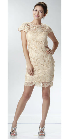 ON SPECIAL LIMITED STOCK - Short Lace Champagne Cocktail Dress Cap Sleeves Illusion Neckline