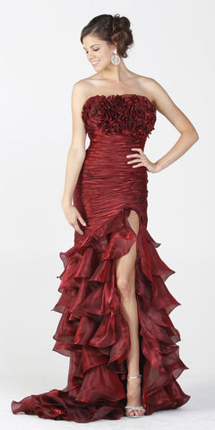 ON SPECIAL LIMITED STOCK - Long Exotic Gala Party Burgundy Dress Trumpet Ruffle Layers Ruched