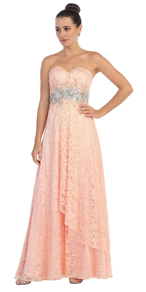 Elegant Long Lace Evening Gown Peach Strapless Sequin Bodice