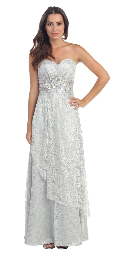 Elegant Long Lace Evening Gown Silver Strapless Sequin Bodice