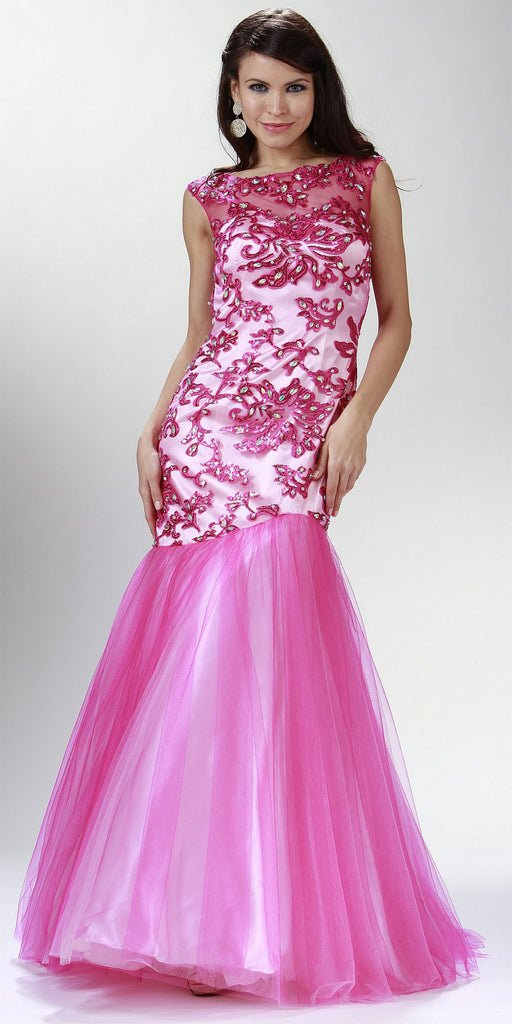 ON SPECIAL LIMITED STOCK - Embellished Sleeveless Bateau Neck Hot Pink Prom Dress