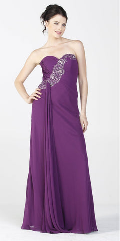 ON SPECIAL LIMITED STOCK - Embellished Top Chiffon Long Eggplant Formal Dress With Bolero Jacket
