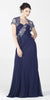 ON SPECIAL LIMITED STOCK - Embellished Top Chiffon Long Navy Blue Formal Dress With Bolero Jacket
