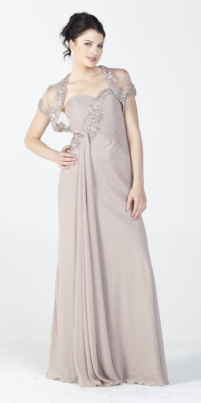 ON SPECIAL LIMITED STOCK - Embellished Top Chiffon Long Mocha Formal Dress With Bolero Jacket