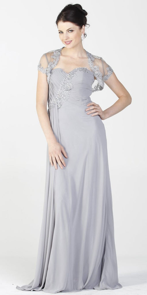 ON SPECIAL LIMITED STOCK - Embellished Top Chiffon Long Silver Formal Dress With Bolero Jacket