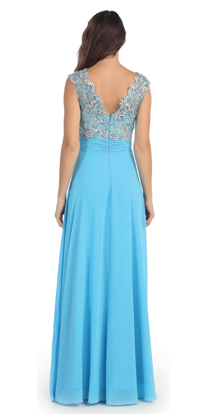 Evening Gown Turquoise Full Length Cap Sleeve Illusion Neck