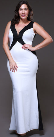 Fitted Black/Ivory Two Tone Maxi Dress V Neck Tank Straps
