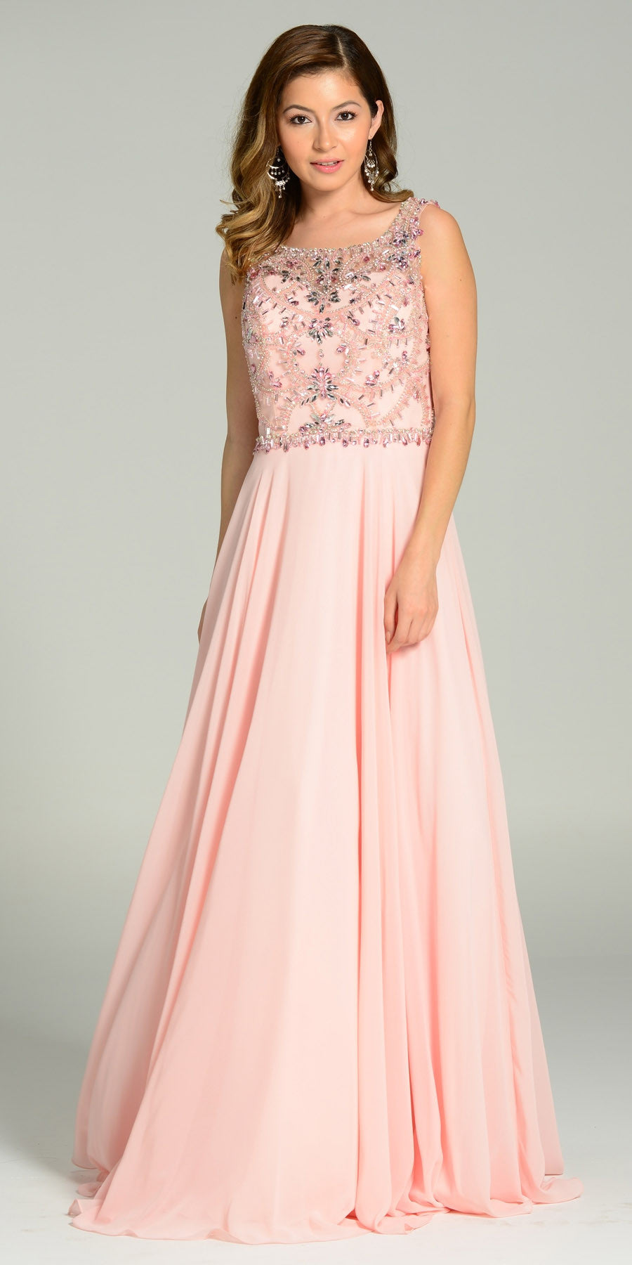 ON SPECIAL LIMITED STOCK - Floor Length A Line Blush Dress Chiffon/Mesh Rhinestone Bodice