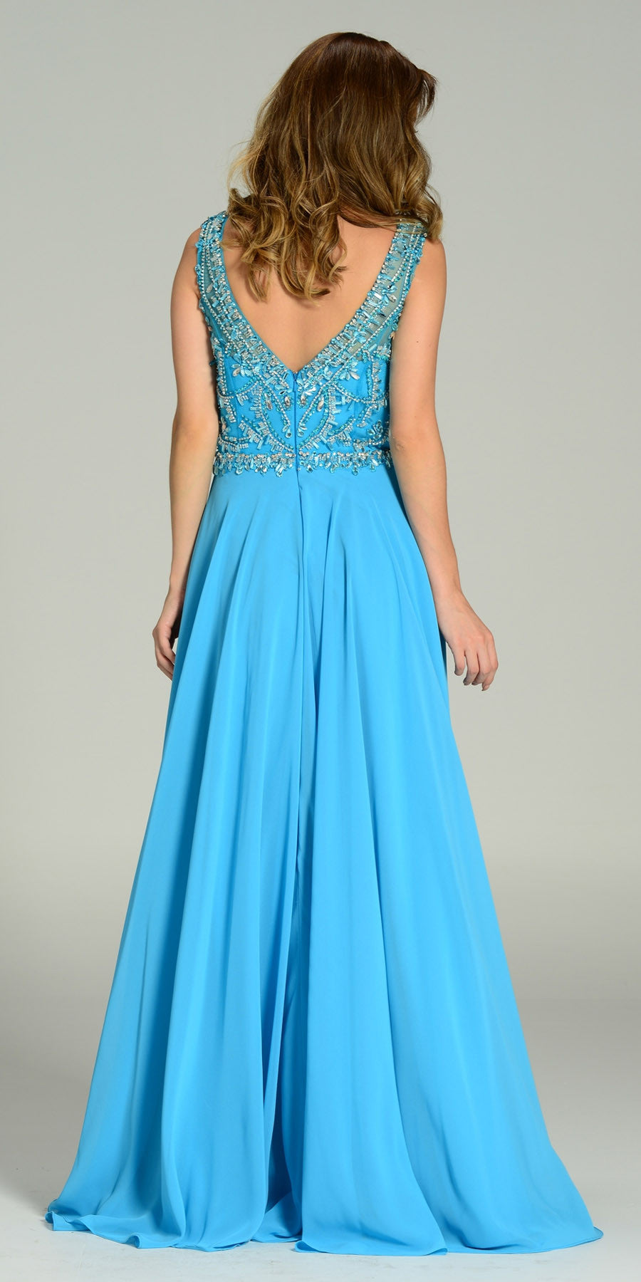 ON SPECIAL LIMITED STOCK - Floor Length A Line Sky Blue Dress Chiffon/Mesh Rhinestone Bodice