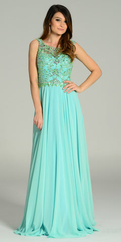 ON SPECIAL LIMITED STOCK - Floor Length A Line Mint Dress Chiffon/Mesh Rhinestone Bodice