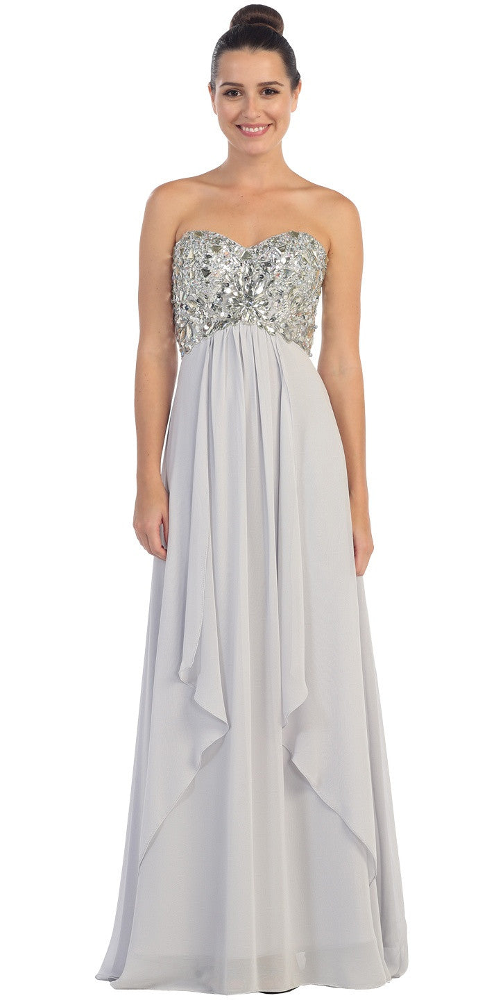 Floor Length Chiffon Silver Evening Gown Strapless Sparkly Rhinestones