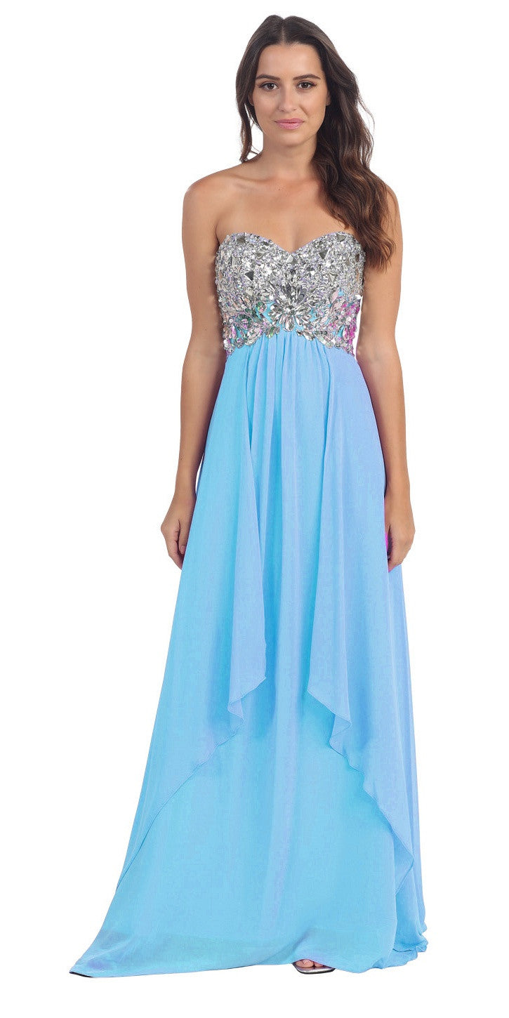 Floor Length Chiffon Turquoise Evening Gown Strapless Sparkly Rhinestones
