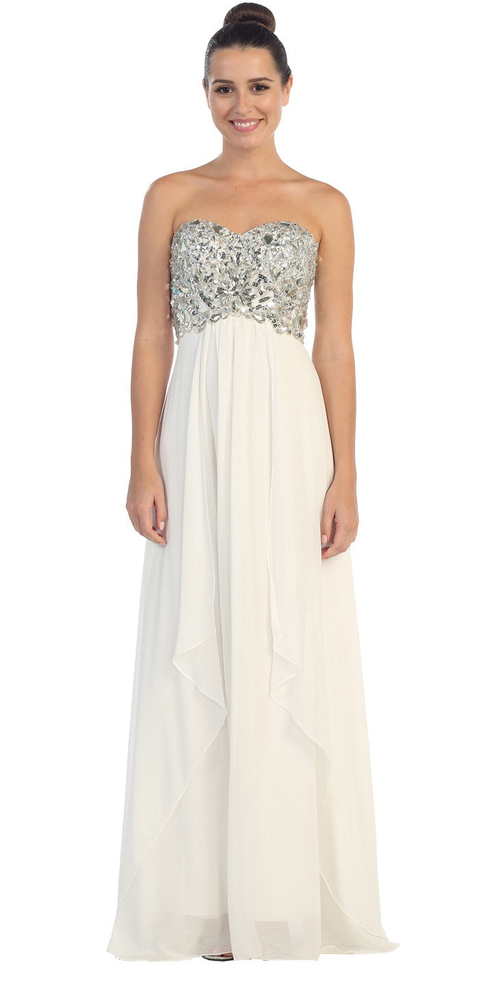 Floor Length Chiffon Off White Evening Gown Strapless Sparkly Rhinestones