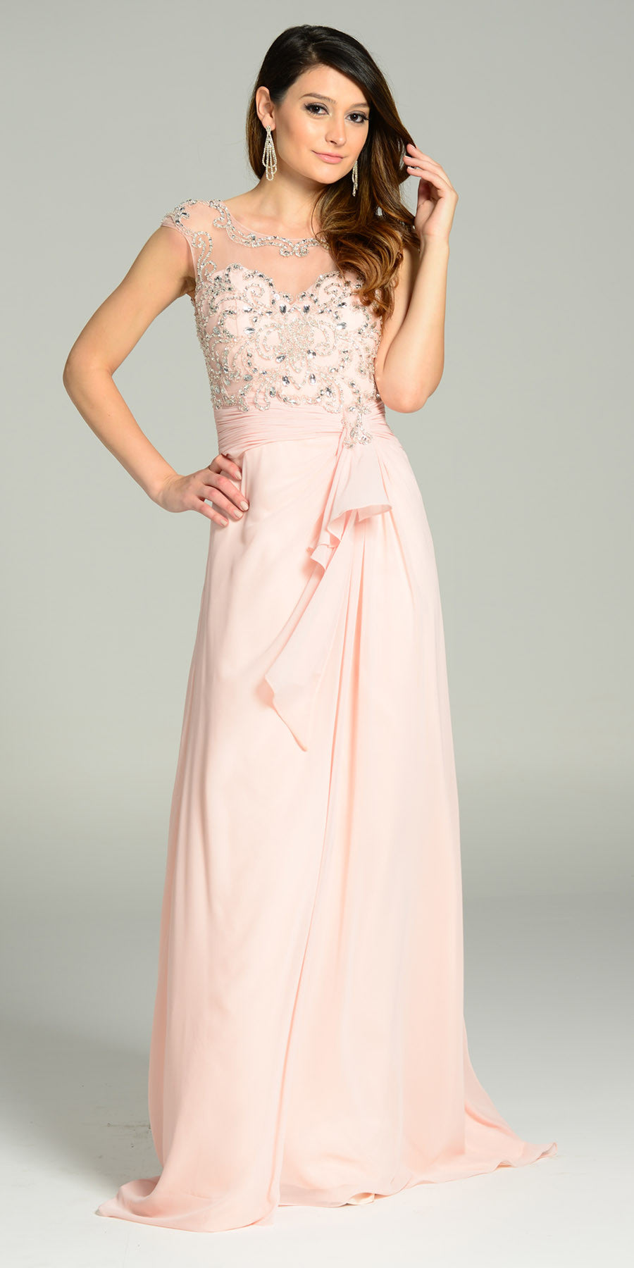 ON SPECIAL LIMITED STOCK - Floor Length Chiffon/Mesh Formal Gown Blush Cap Sleeve