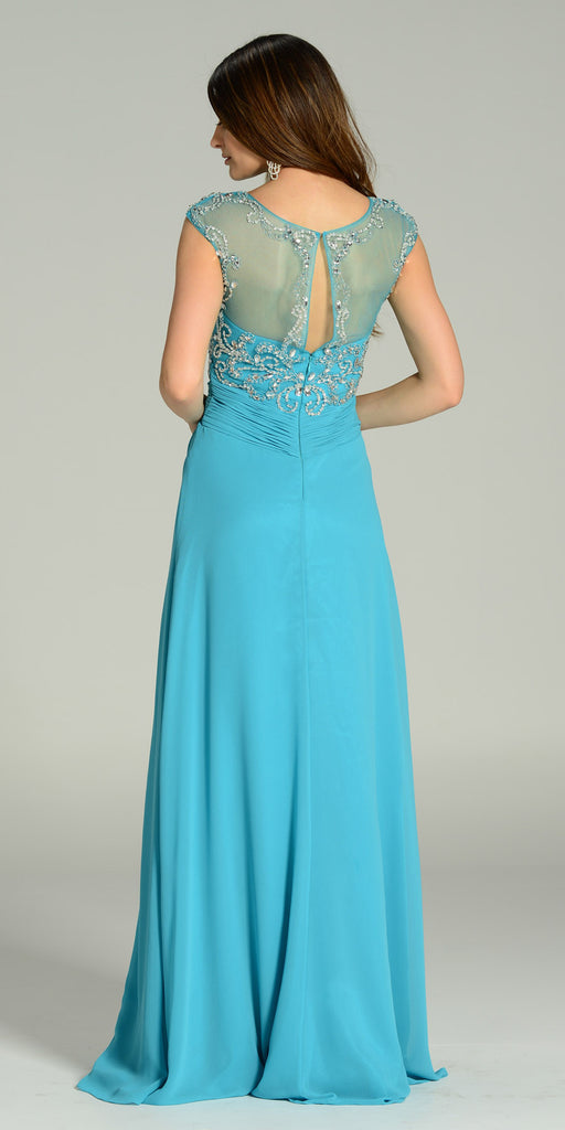 ON SPECIAL LIMITED STOCK - Floor Length Chiffon/Mesh Formal Gown Light Teal Cap Sleeve