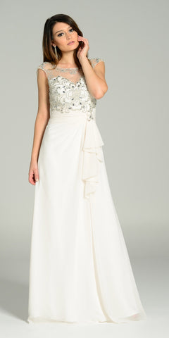 ON SPECIAL LIMITED STOCK - Floor Length Chiffon/Mesh Formal Gown Ivory Cap Sleeve