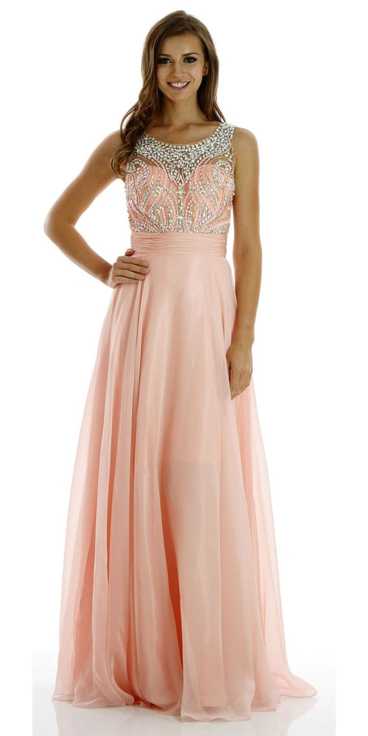 Floor Length Evening Gown Peach Chiffon/Mesh Sleeveless Bateau