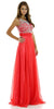 Floor Length Evening Gown Watermelon Chiffon/Mesh Sleeveless Bateau