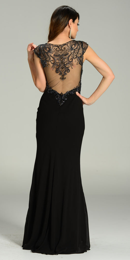 Floor Length Formal Gown Black Deep V Neck Cap Sleeve