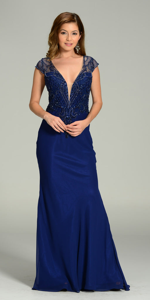 Floor Length Formal Gown Navy Blue Deep V Neck Cap Sleeve