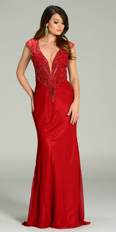 Floor Length Formal Gown Burgundy Deep V Neck Cap Sleeve