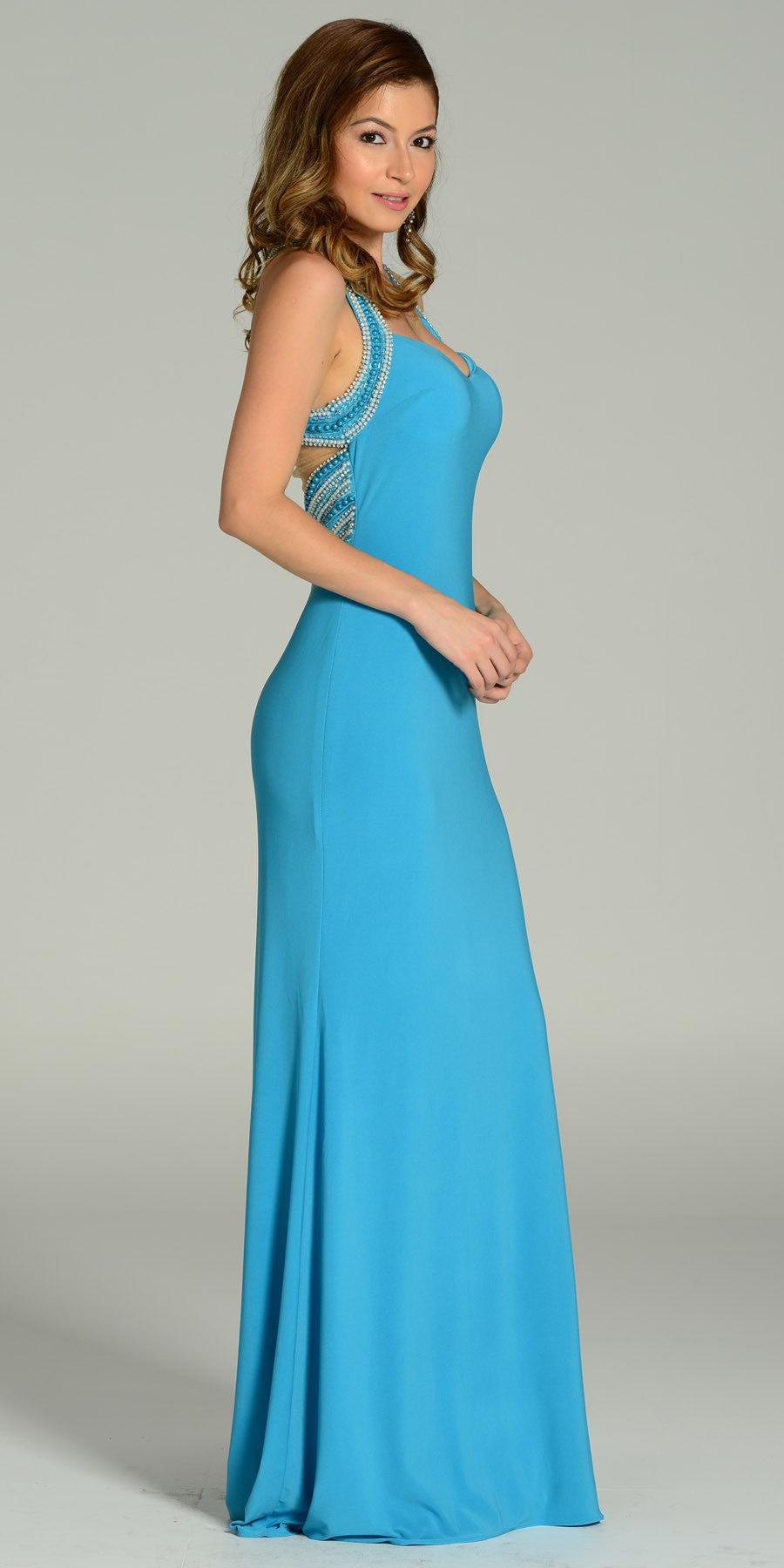 ON SPECIAL LIMITED STOCK - Form Fitting Floor Length Light Teal Formal Gown Wide Straps