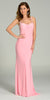 ON SPECIAL LIMITED STOCK - Form Fitting Floor Length Pink Formal Gown Wide Straps
