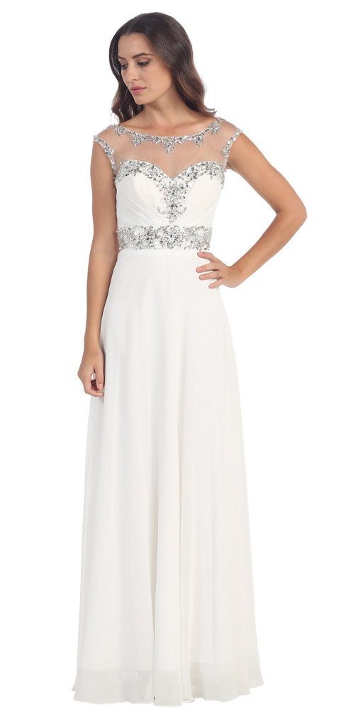Formal Evening White Gown Chiffon Cap Sleeve Illusion Neck