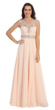 Formal Evening Champagne Gown Chiffon Cap Sleeve Illusion Neck