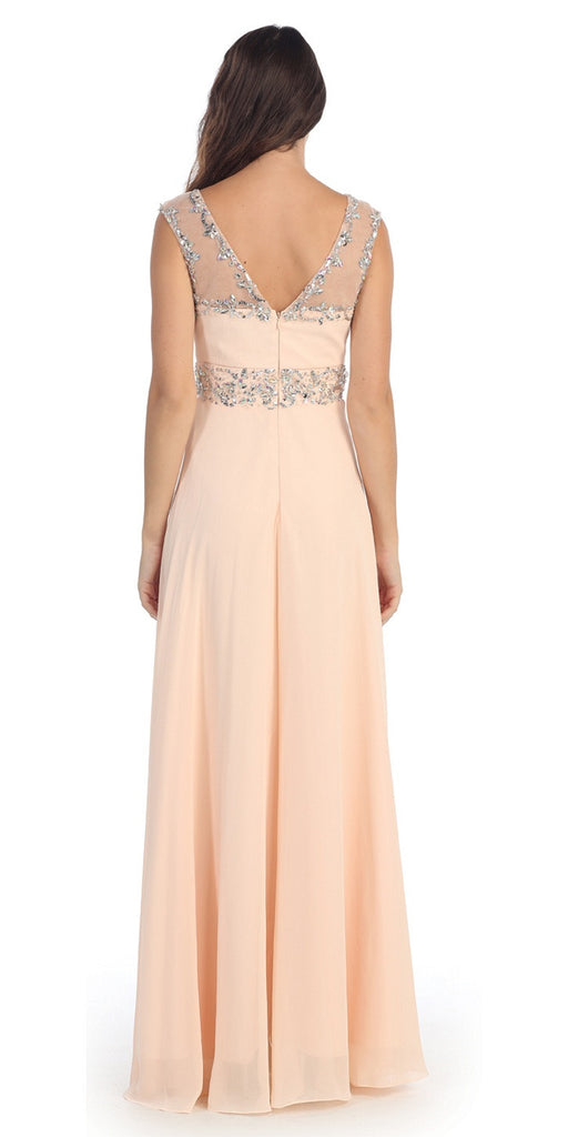 Formal Evening Peach Gown Chiffon Cap Sleeve Illusion Neck